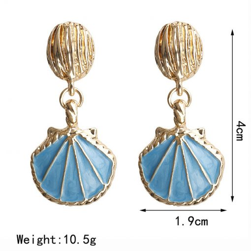 Plus protection color retro marine style shell earrings Factory direct spot wholesale YLX-009