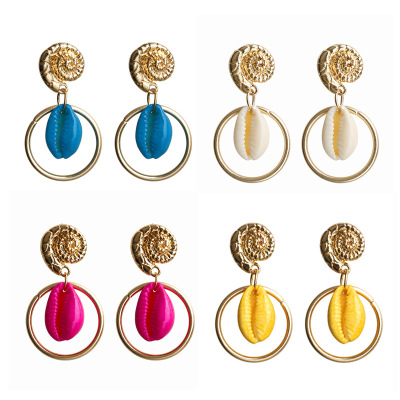 New shell earrings female big circle bohemian conch earrings round earrings  Color mixing YLX-007
