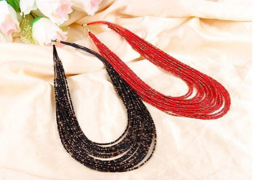 Vintage rice beads exaggerated personality necklace Bohemian beaded multi-layer rice beads necklace wholesale YHY-105