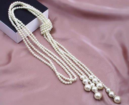 High quality imitation pearls, simple temperament, long necklace, single double sweater chain yhy-103