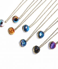 Hot sale double-sided spherical universe couple necklace diy dream star gemstone pendant jewelry Color mixing YHY-104