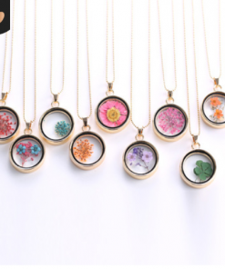Korean version of the round pendant colorful specimens diy locket dried flower necklace factory direct supply  Mixed batch yyh-001