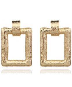 New ZZA pull casual simple women's earrings rectangular alloy earrings fashion gold and silver accessories ylx-070