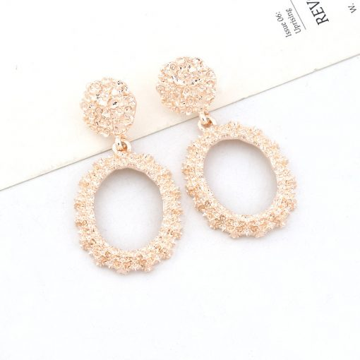 Ms. Europe and the United States retro style metal pattern oval earrings literary temperament court wind earrings wholesale YLX-068