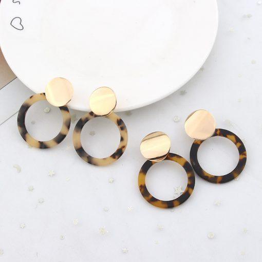 New Ear Jewelry Fashion Metal Sequins Acrylic Circle Stud Earrings YLX-042