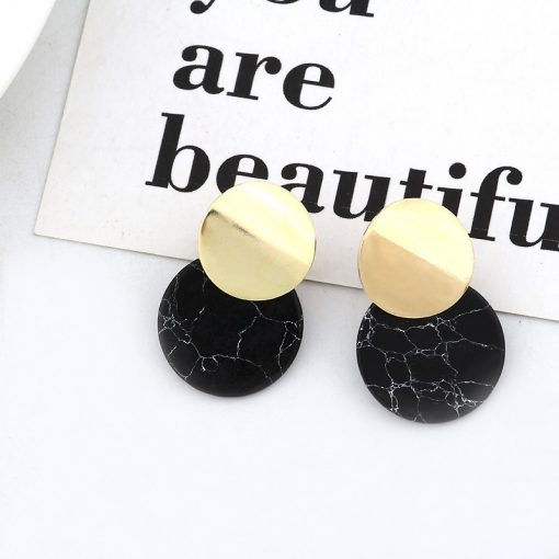 Korean fashion new simple earrings Fashion temperament imitation turquoise geometric round earrings manufacturers wholesale YLX-055