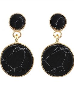 European and American style simple wind ladies pine stone earrings Personalized fashion marble round combination earrings YLX-109