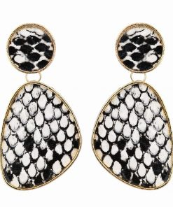 European and American foreign trade new irregular geometric snake skin pattern earrings mature catwalk wind earrings YLX-099