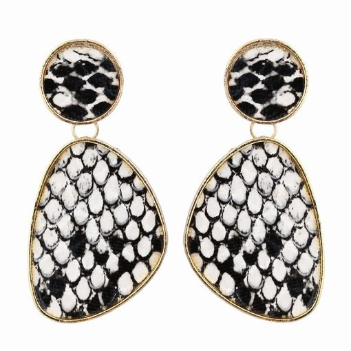 European and American foreign trade new irregular geometric snake skin pattern earrings mature catwalk wind earrings YLX-099