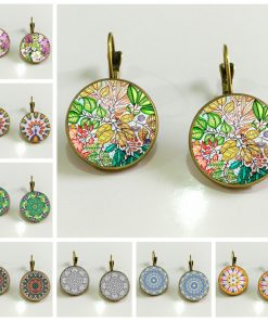 Vintage Watercolor Mandala Flower French Hook Time Gemstone Earrings Mixed Batch YFT-094