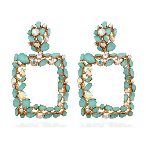 Women Europe and the United States geometric earrings new retro color crystal square shaped earrings YLX-016