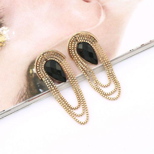 European and American fashion exaggerated retro fan-shaped metal gem tassel earrings wholesale YLX-103