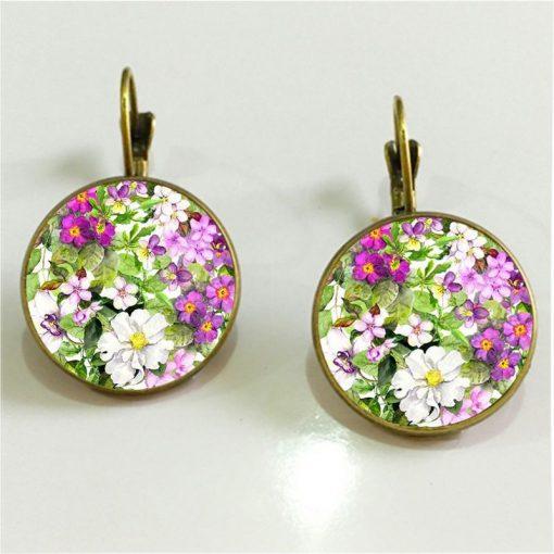 Vintage Watercolor Mandala Flower French Hook Time Gemstone Earrings Mixed Batch YFT-094