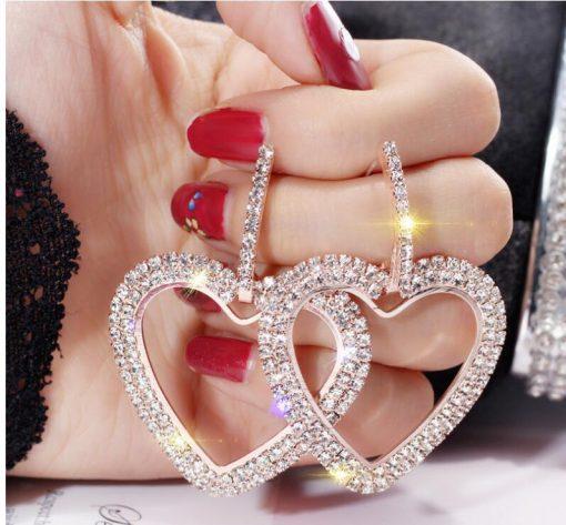 Full diamond heart-shaped long European and American earrings personality wild earrings exaggerated tide earrings female YLX-045