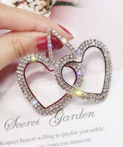 Full diamond heart-shaped long European and American earrings personality wild earrings exaggerated tide earrings female YLX-045