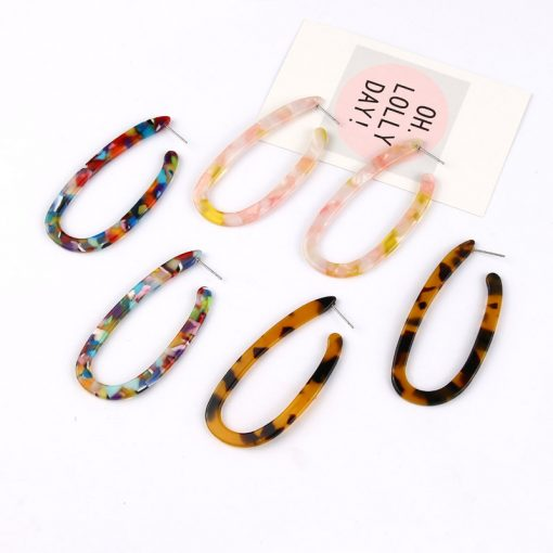 Fashion exaggerated European and American style trend ear jewelry Hot sale acetic acid sheet U-shaped leopard print earrings female YLX-030