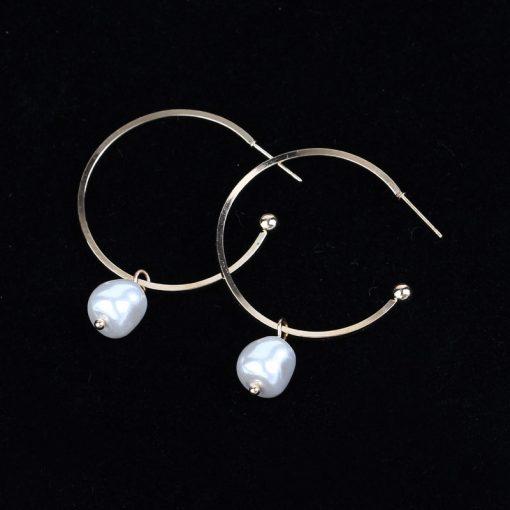 Creative Korean version of a variety of imitation pearl dumb gold earrings European and American temperament irregular geometric earrings ylx-079