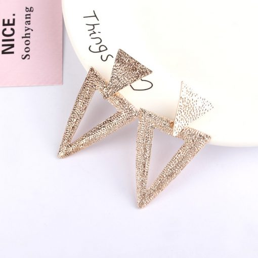 Korean version of the simple trend of geometric metal earrings Personality OL wind triangle earrings jewelry YLX-086
