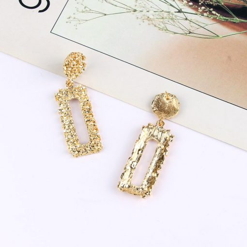 Europe and America exaggerated heavy metal earrings simple geometric embossed flower earrings retro fashion rectangular earrings ylx-089