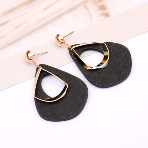 European and American cool wind earrings Retro geometric wooden drop shape female long pendant personality exaggerated tide earrings YLX-050