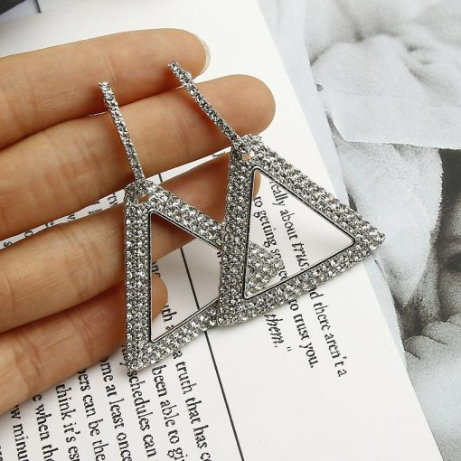 Europe and the United States Korea exaggerated earrings explosion models personality geometric triangle diamond earrings YLX-090