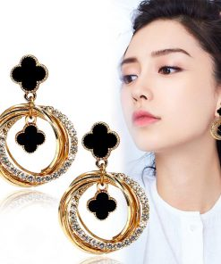 Four-leaf clover fashion wild earrings Korean personality flash diamond metal ring goddess temperament earrings  YLX-087