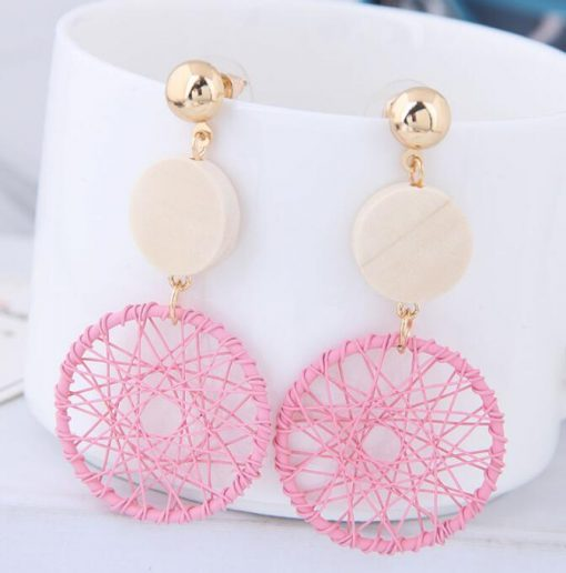 Korean version of the trend of the trend of gold wire button long earrings ylx-117