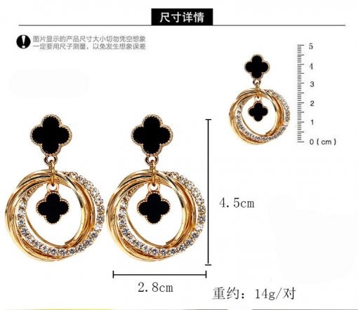 Four-leaf clover fashion wild earrings Korean personality flash diamond metal ring goddess temperament earrings  YLX-087