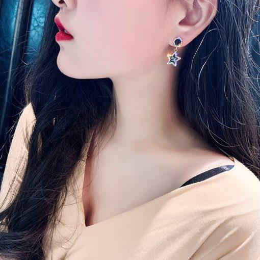 Diamond stud earrings five-pointed star small fresh and simple earrings temperament ladies Korea Dongdaemun earrings  YLX-075