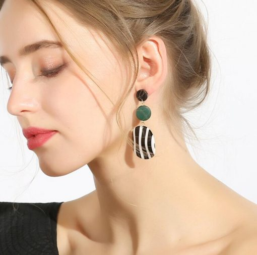 Korean version of the simple and versatile long black and white striped acrylic round earrings tide wooden geometric earrings YLX-026