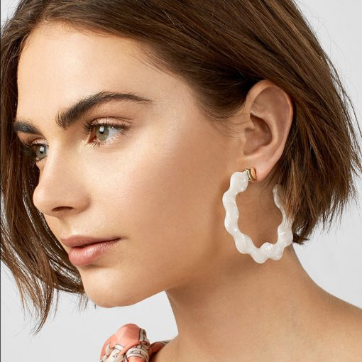 hot sale Alloy earrings  Acrylic sheet C-wave side earrings Europe and America exaggerated fashion earrings ylx-094