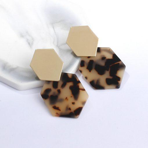 New simple hexagonal diamond shape metal earrings geometric acrylic pendant acetate plate long earrings ylx-067