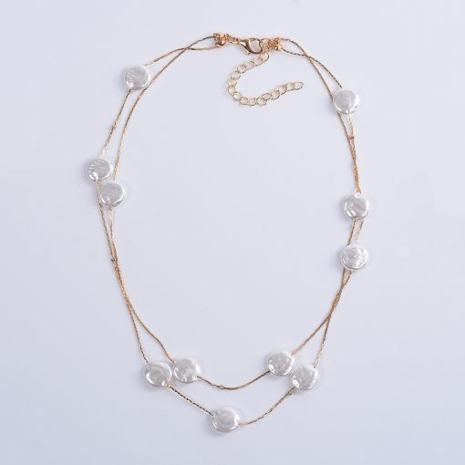 Long double natural baroque pearl necklace tide female fashion clavicle chain boho YQL-012