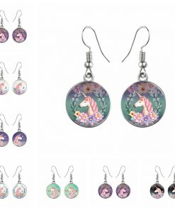 Time Gem Unicorn Earrings Cartoon Pony Mixed Batch YFT-114