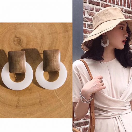 Anna with the earrings Korea minimalist temperament geometric wooden round earrings retro earrings YLX-114