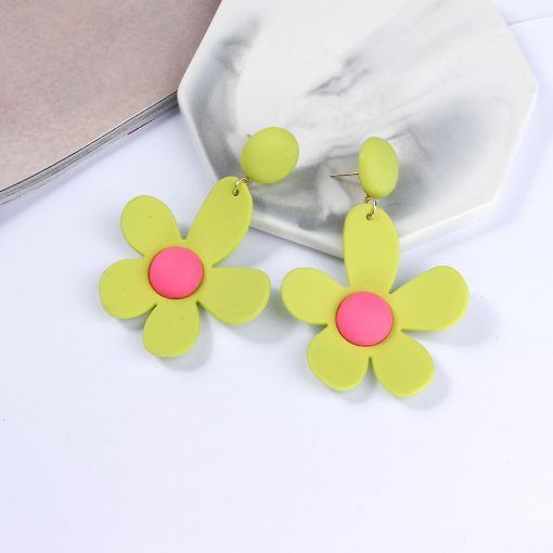 Korea sweet ins fluorescent earrings small fresh accessories contrast color flower earrings holiday exaggerated earringsYLX-035