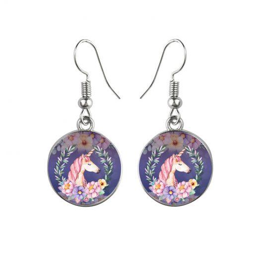 Time Gem Unicorn Earrings Cartoon Pony Mixed Batch YFT-114