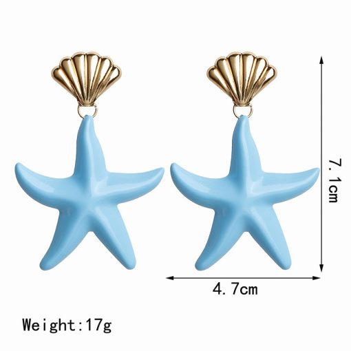 Color exaggerated ladies pendant earrings Haipai national wind shell starfish earrings mixed color YLX-024