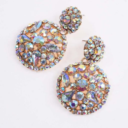 fashion color full diamond luxury round earrings female  hollow earrings YQL-011
