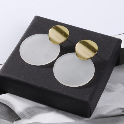 European and American fashion texture exaggerated golden smooth disc temperament female earrings YLX-101