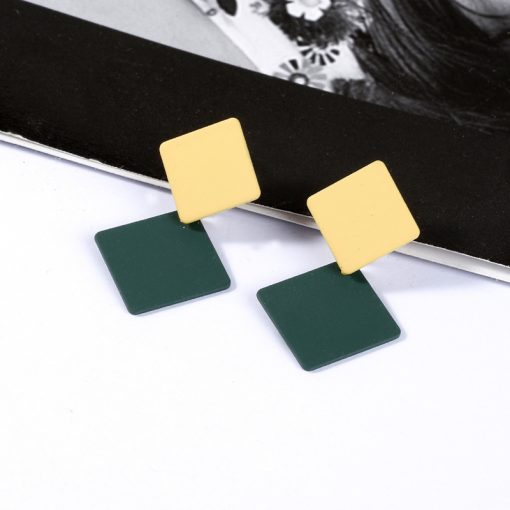 Korean version of the new paint geometric square earrings exaggerated fashion simple wild earrings retro cold wind YLX-100