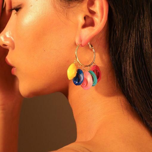 Hot earrings Bohemian exotic artificial color shell earrings Factory direct YLX-122
