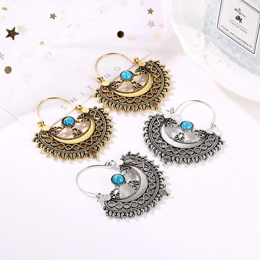European and American new jewelry fashion retro ethnic style earrings temperament personality hollow stone pattern earrings YLX-124