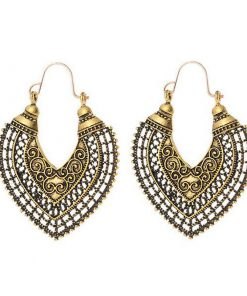European and American hollow bohemian ethnic carved earrings vintage ins heart shaped geometric semicircular earrings YLX-129