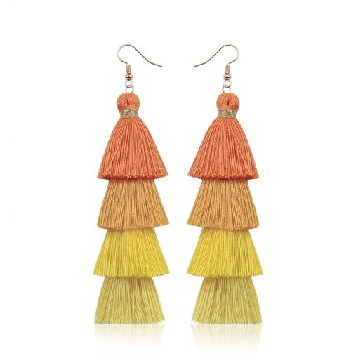 Hypoallergenic Bohemian fashion handmade long multi-layer tassel earrings European and American earrings wholesale female jewelry YKX-064