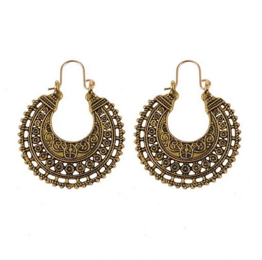 Bohemian national style retro hollow carved earrings Semi-circular trend alloy pattern ear buckle YLX107