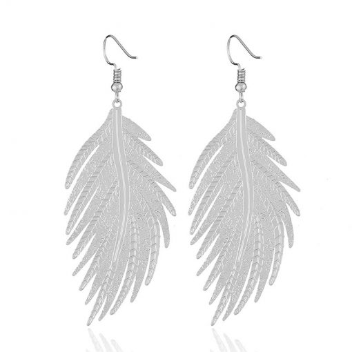 Metal long leaf feather earrings exaggerated personality fashion boho YLX-120