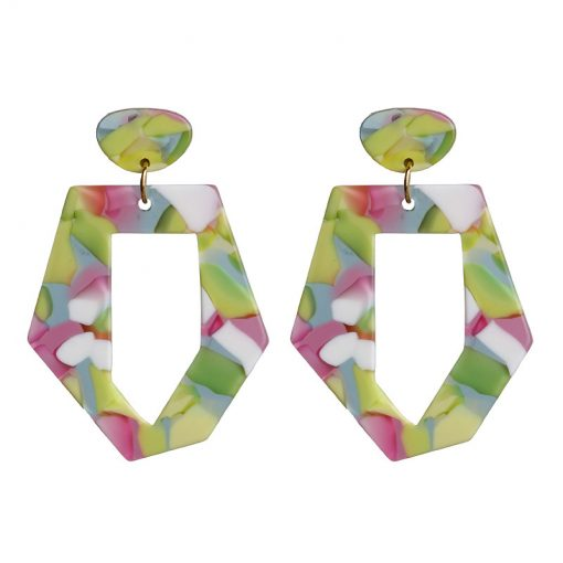 Factory direct acetic acid plate earrings fresh geometric personality simple fashion women earrings YLX-113