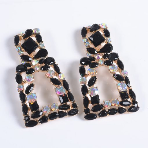 new big brand exaggerated earrings geometric alloy earrings female new retro full diamond square earrings YQL-010