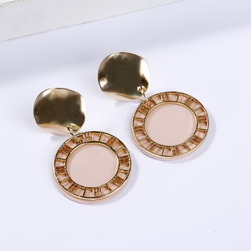 New Roman numerals earrings creative retro fashion sequins hollow disc candy color ladies earrings YLX-128